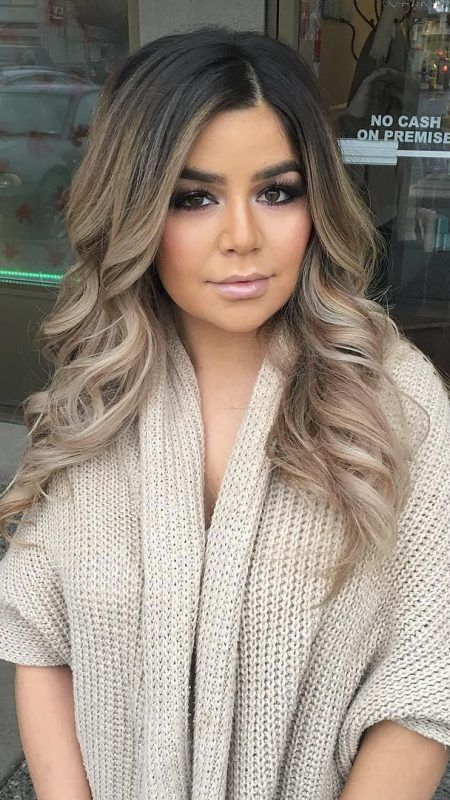 Over ash blonde black brown ombré hair tan olive skin