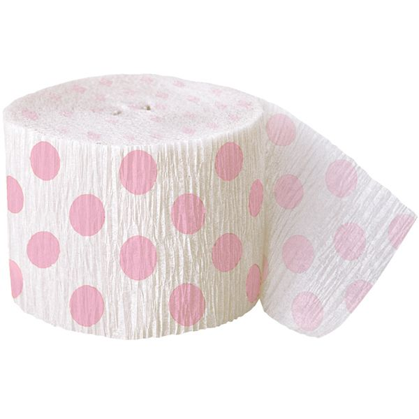 Billig crepe bånd i hvid med lyserøde polkaprikker til bordpynt og til pynt i dit festlokale.