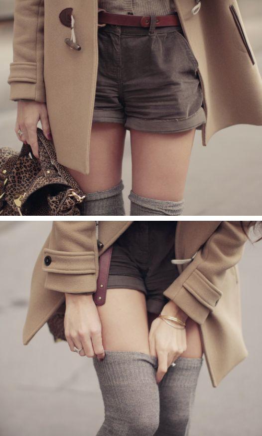 Shorts + thigh high socks...longer shorts...but this is cute @J E Wise