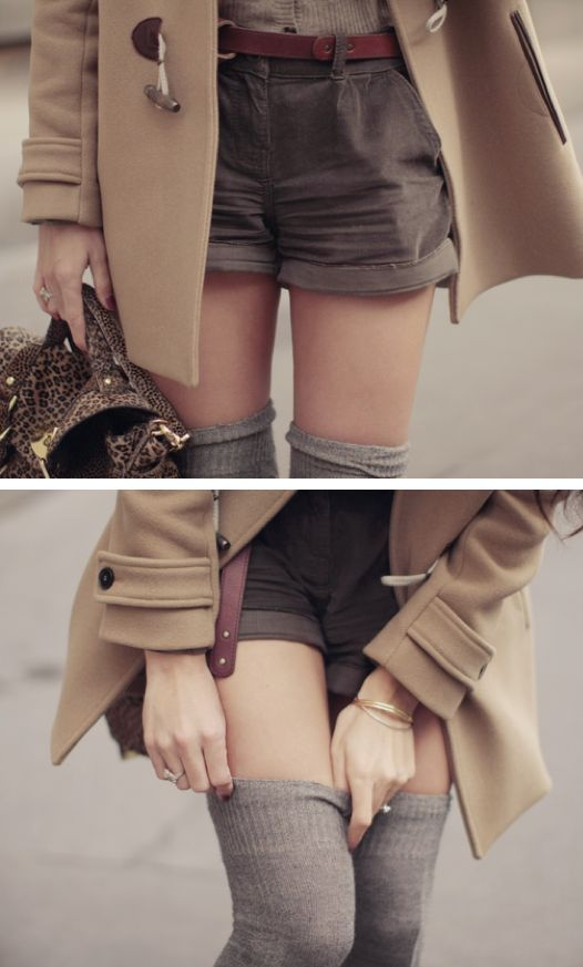 Shorts + thigh high socks...longer shorts...but this is cute