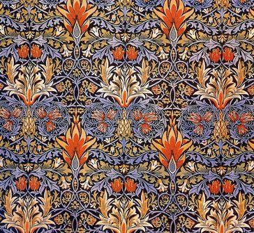 William MORRIS: Snakeshead. Textile design. Tulip motif, orange, peach, beige and lilac.