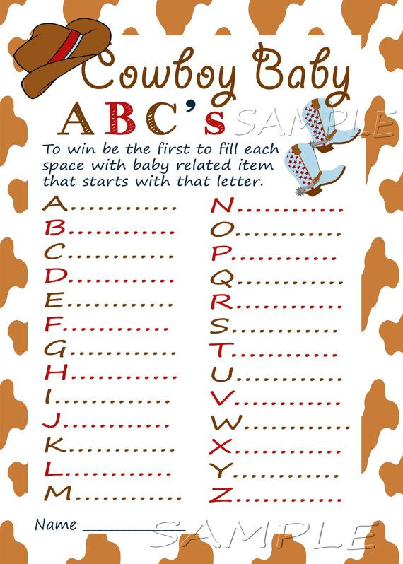 Western Baby Shower ABC Game Printable Baby Shower Game Instant Download