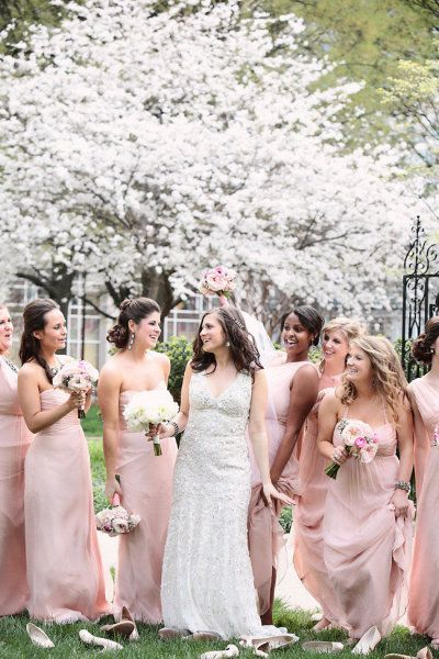 blush colored bridesmaid dresses by http://amsale.com | Photography by kristinvining.com | Event Planning by weddingsandthecity.com | Floral Design by theplaceforflowers.com |  Read more - http://www.stylemepretty.com/2013/06/11/charlotte-wedding-from-kristin-vining-photography/