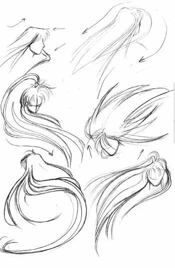 how to draw hairstyles | Now, here is the tough part: putting your character's hair into motion ...