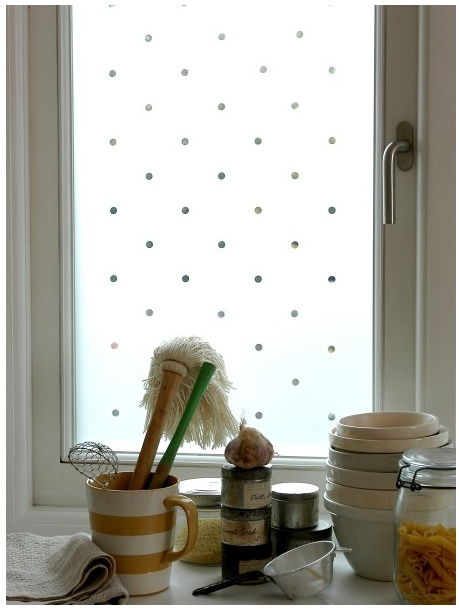 polka dot decorative film would love something like this for sliding glass door window film. Black Bedroom Furniture Sets. Home Design Ideas