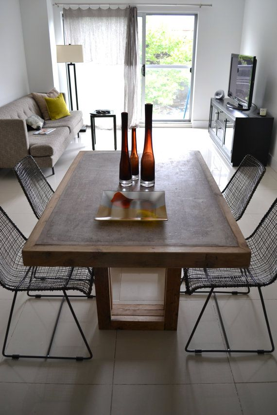 Concrete and Reclaimed Wood Table by decoratelier on Etsy, $1400.00 @Sarah Dolce what do you think if I asked them to do this with the pickled white wood as the frame?