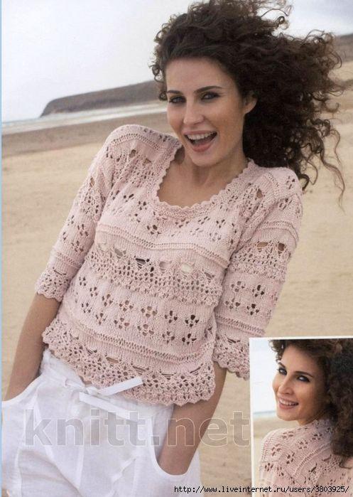 Ажурный укороченный пуловер с коротким рукавом. Модель разработана для летнего времени. В модели отлично сочетаются различные ажурные вязки