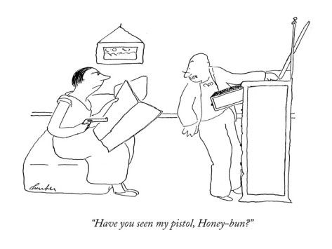 """Have you seen my pistol, Honey-bun?"" - New Yorker Cartoon Poster Print by James Thurber at the Condé Nast Collection"