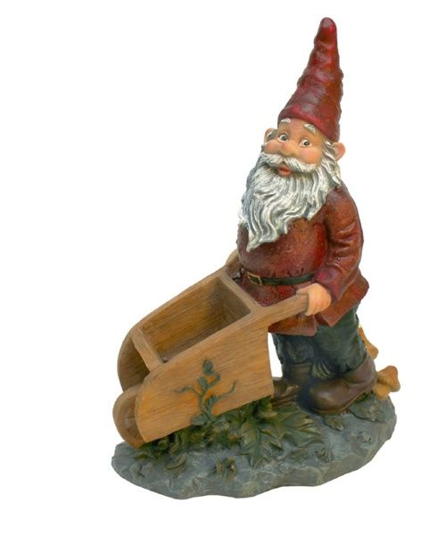 Design Toscano Wheeler with the Wheelbarrow Garden Gnome Statue - Garden Statues at Hayneedle
