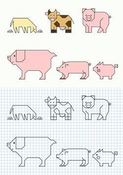 Dibuja los animales en una hoja de papel cuadriculado siguiendo el ejemplo de la ficha. Despúes colorea los animales como se indica.