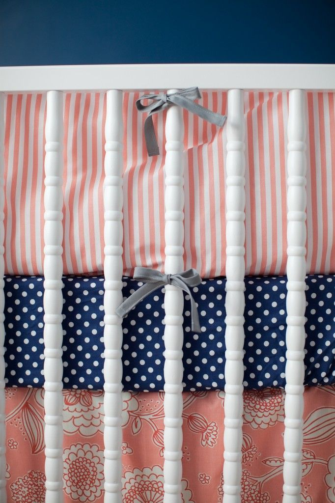navy and coral nursery bedding | Navy and coral nursery