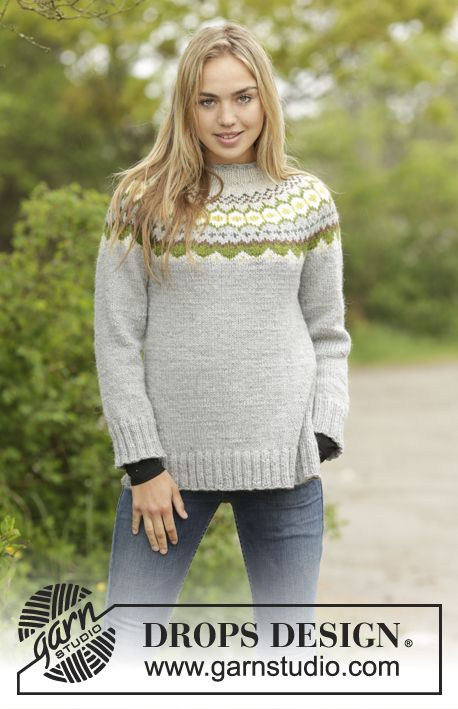 Gemstone jumper with round yoke and Nordic pattern by DROPS Design. Free #knitting pattern