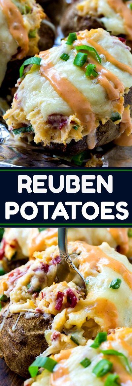 Double Stuffed Reuben Potatoes #cornedbeef #reuben