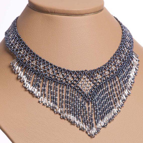 Images of handmade jewelry | Modern Handmade Jewelry Beaded NECKLACE Waterfall Gerdan: Gray ...
