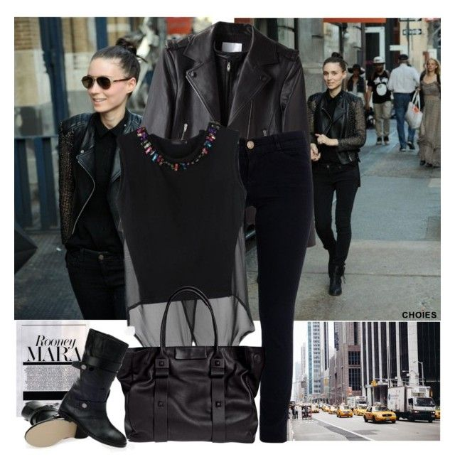 """"""":rooney mara:"""" by janedoe333 ❤ liked on Polyvore featuring MARA, Alexander Wang, Current/Elliott, By Malene Birger, StreetStyle, black, Choies, CelebrityLook and CelebrityStyle"""