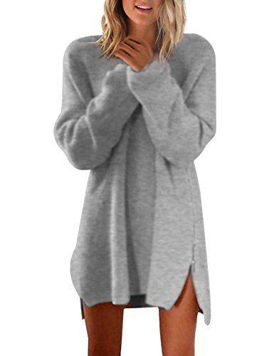 ISASSY Sweat-shirt Sweat Sans Capuche Femme Manches Longues Zippé Blouse Robe Tunique Top Haut – Gris – M: FR36-38: Tweet Spécifications:…