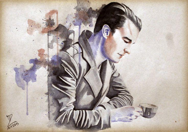 MoP_Coffee_04, Media: Watercolor on paper, Size: A4 (21 x 30 cm) by Miro Zgabaj https://www.facebook.com/pages/Miroslav-Zgabaj-Drawing-Painting/114161501988357?ref=aymt_homepage_panel