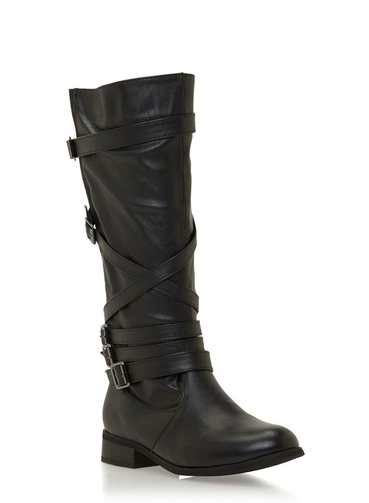 Multi Strap Zip Up Knee High Boots,BLACK,large
