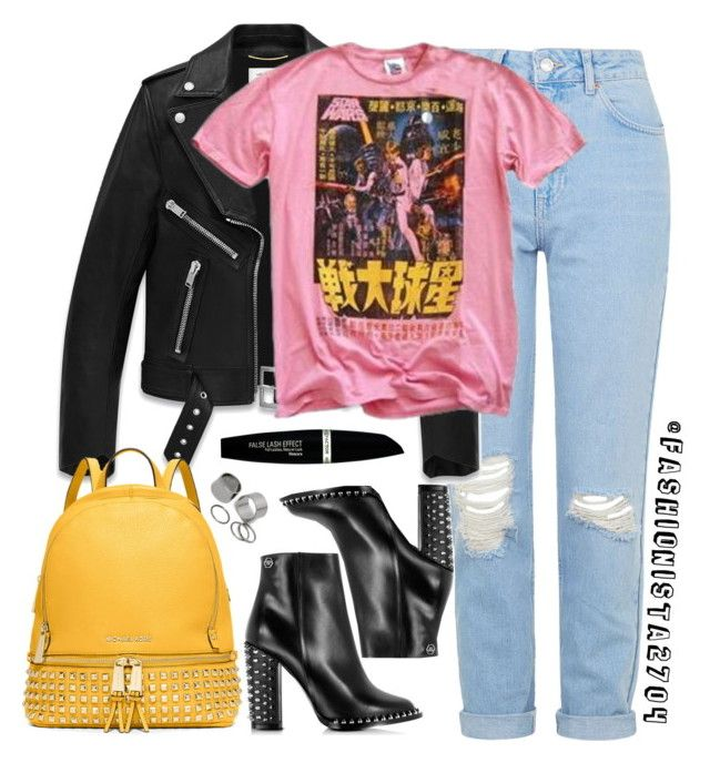 """Edgy"" by fashionista2704 ❤ liked on Polyvore featuring Topshop, Yves Saint Laurent, Junk Food Clothing, Philipp Plein, MICHAEL Michael Kors, Max Factor and Pieces"