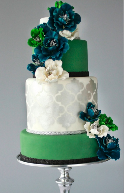 """Emerald -- The official 2013 """"Color of the Year"""" -- Modern silver and emerald green jewel tone wedding cake-love the colors    LOOOOOOOOOOOOOOOOOOOOVE!!!"""