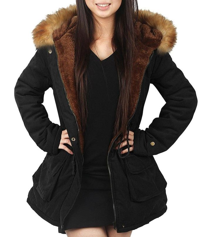 4How Womens Parka Hooded Jacket Winter Warm Coat Faux Fur Outdoor New Army Black #4HOW #BasicJacket #Outdoor