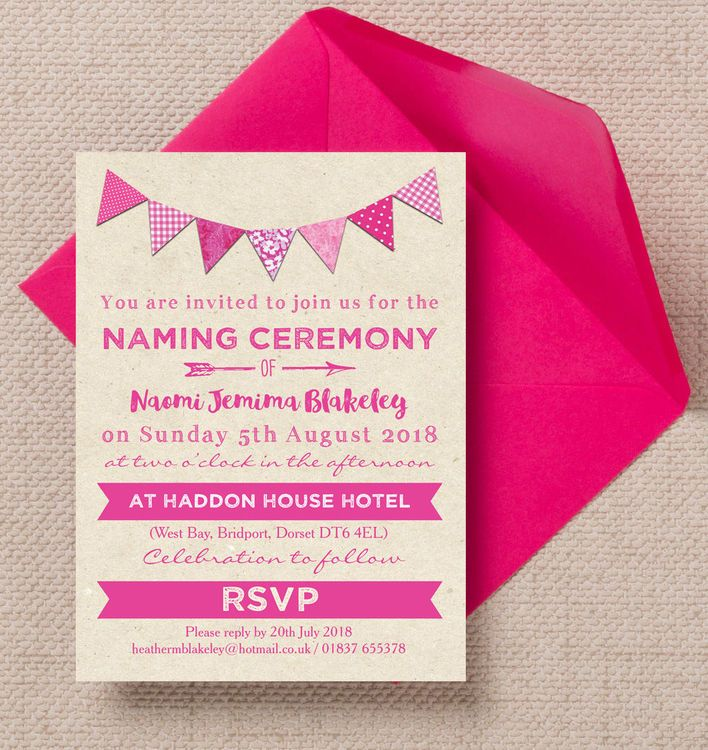 Pink Bunting Naming Ceremony Day Invitation 32