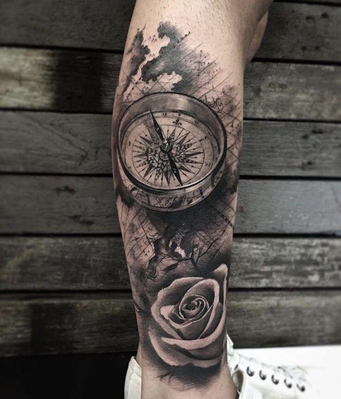 Declaración de tatuaje 3d, símbolo marítimo, rosa blanca