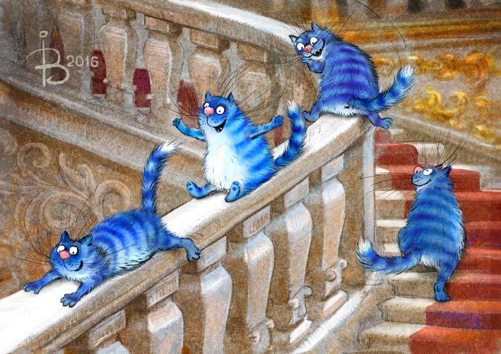 """Просмотреть иллюстрациюРина З. - Эрмитажные коты (Из серии """"Котики в Питере"""")."""