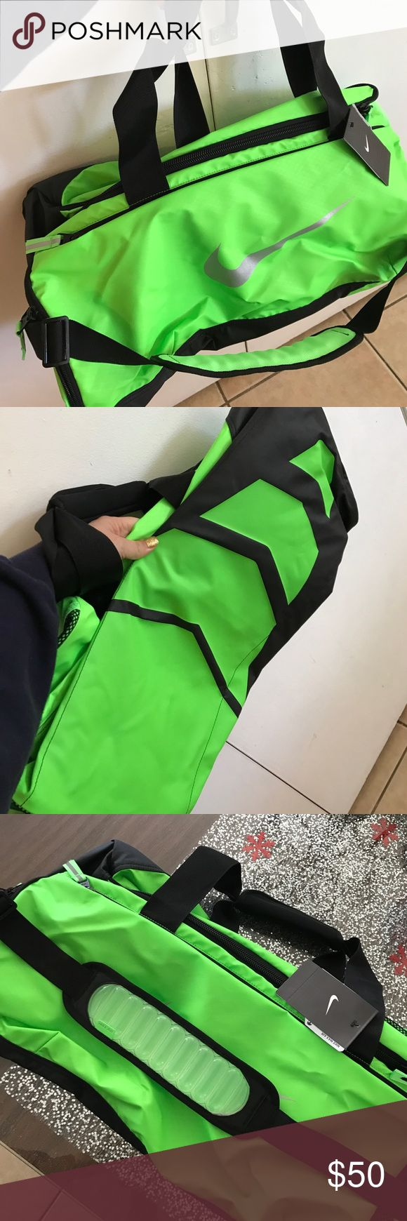 Men's Nike Max Duffel Bag **Brand New**  bright green Men's Nike Air Max duffel bag great for the gym and sports bag is new and didn't get a pic of it open because it's still shut closed with tags Nike Bags Duffel Bags
