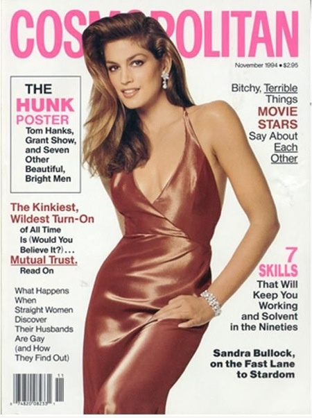 Cosmopolitan magazine, NOVEMBER 1994  Model: Cindy Crawford Photographer: Francesco Scavullo