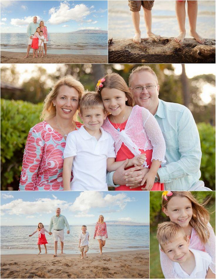 Beach Family Photo Ideas: soft aqua, white and coral
