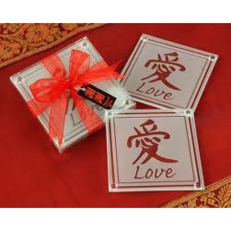 Asian Love Glass Coasters Favour