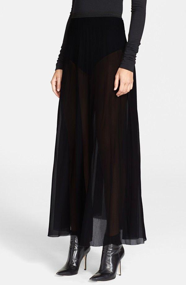 DKNY: Stretch Georgette Maxi Skirt