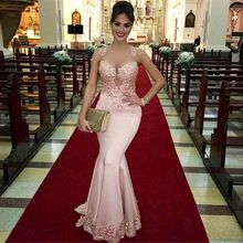 Alibaba elegante Sexy Applique longo New Designer V Neck vestidos Lace rosa sereia vestidos de noite ou vestido de festa LE04