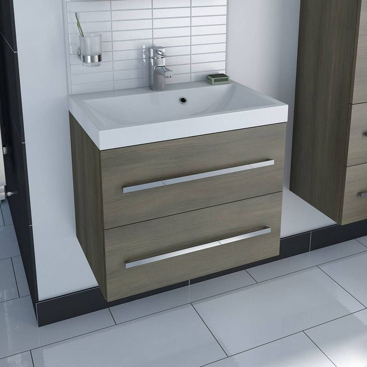 Drift Walnut 2 Drawer Wall Hung Unit Inset Basin - Now £199.99 - Less Than Half Price