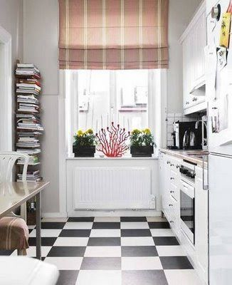 Classic black and white kitchen floor