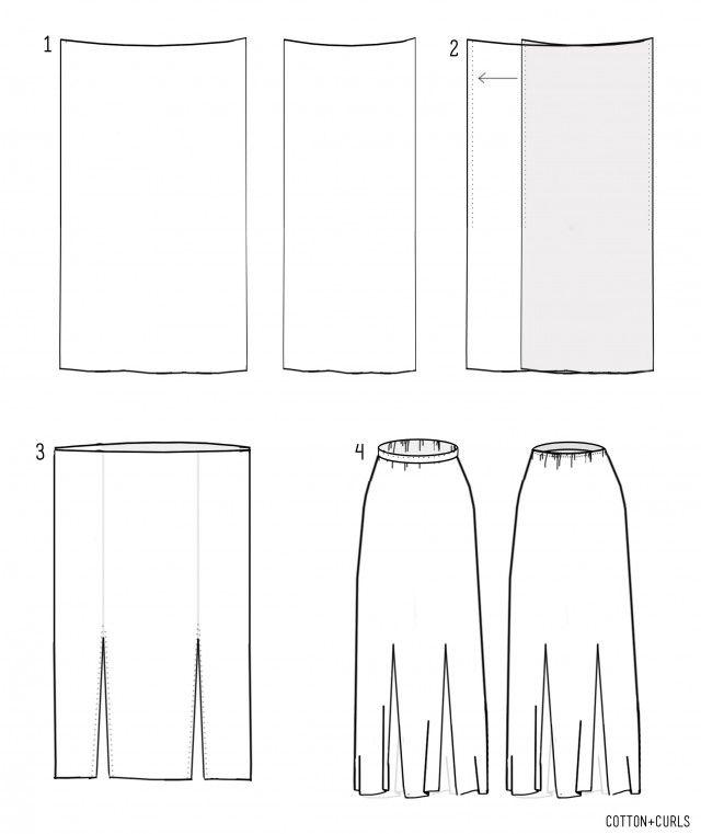 4 step DIY maxi skirt with optional slits. Excellent tutorial for elastic waist options, hidden and non-hidden.