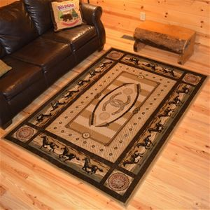 Delectably Yours Western Horse Stampede Border Rug 2x3 5x8 8x10 & 2x8 Hall Runner at #DelectablyYoursDecor Western Rugs & Decor