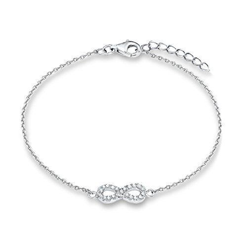 s.Oliver Kinder-Armband Teenager Mädchen 16+2 cm verstellbar mit Infinity-Anhänger 925 Sterling Silber Zirkonia weiß