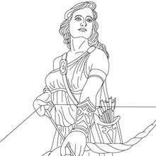 ARTEMIS the Greek goddess of hunting-link to Greek goddesses coloring pages