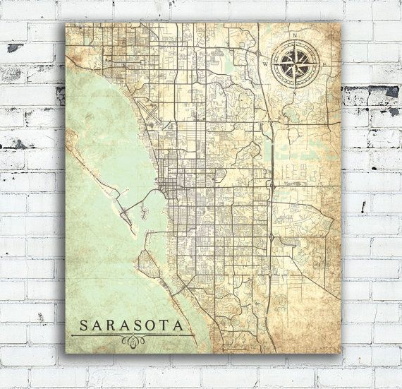 SARASOTA Canvas Print Florida FL Vintage map Sarasota City Map Florida Vintage Wall Art poster retro antique old map Sarasota United States