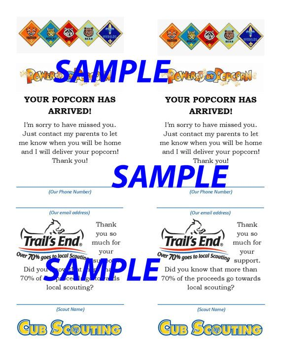 This is a digital download of the pictured Your Popcorn is in card. Help increase your Cub Scout Popcorn sales with these ready to print cards! Cards print two to a page on an 8.5 x 11 sheet.                                                                                                                                                                                 More