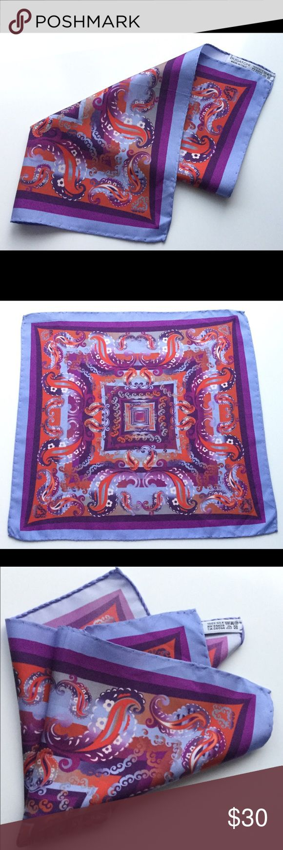 Stylish men's Handkerchief Bucatchi 🇮🇹 100% silk. Made in Italy Bugatchi Accessories Pocket Squares