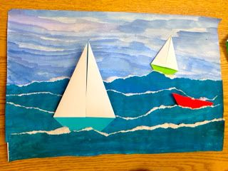 Texture, color, form, space: paint water and tear, paint sky and glue water on, make origami boats and glue on or collage together boats. add additional details if time (shark fin, little life circle things, clouds, boat names) ARTipelago: Seascapes – eveline sayed