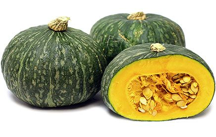 Kabocha Squash, a Japanese variety with a heavy dark orange flesh that resembles sweet potatoes when cooked.