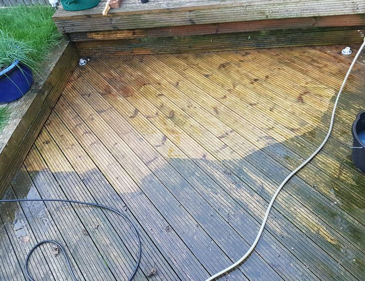 In the process of pressure washing a wood deck to make it safe (not slippery) and pretty looking again.