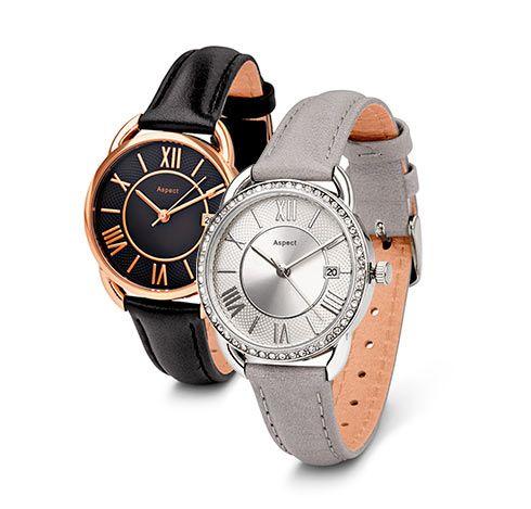 Náramkové hodinky s koženým řemínkem