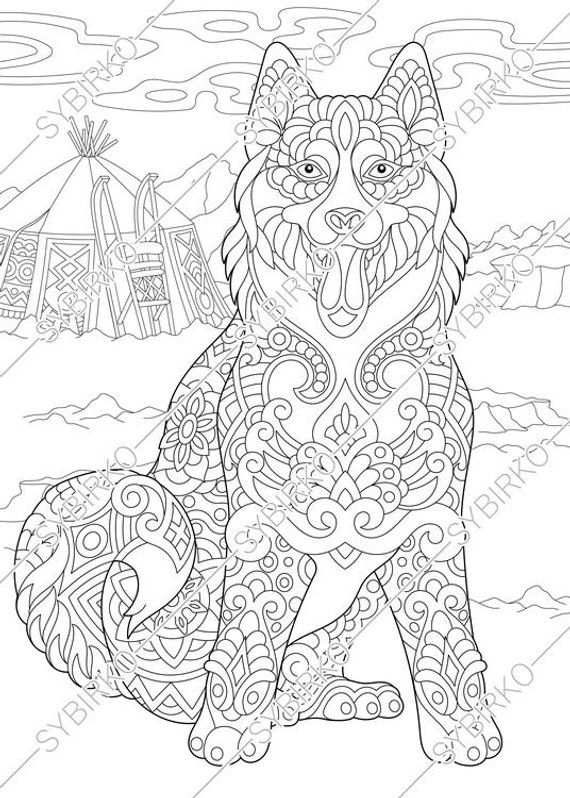 Coloring Pages For Adults Siberian Husky Dog Alaskan Etsy