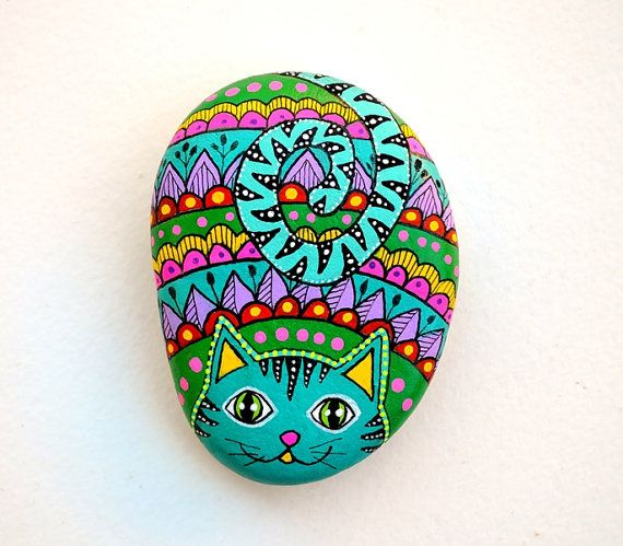 Hand Painted Stone Cat Beach pebble with hand-painted designs in acrylics © Sehnaz Bac 2016  I paint and draw all of my original designs by hand with the small brushes or paint pens with extra fine tip. I use also isographs with different inks. No stencils are used. All designs are created with my imagination.  These pebbles were found on the beaches of Adriatic Sea. Each was chosen for its shape, smoothness and uniformity. They are protected with 2 or 3 layers of high quality glossy…