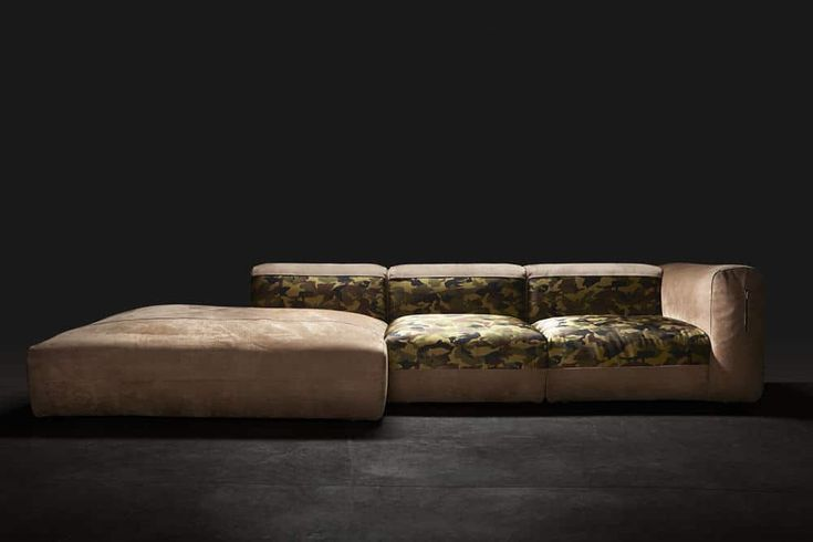 Haute couture sofa with velvet leather and camo silk fabric, only for the select few true luxury homes in Dubai